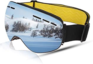 Aholic OTG Ski Goggles, Upgraded Quick Change Lens Magnetic Snow Snowboard Snowboarding Goggles Over Glasses Anti Fog UV Protection Non-Slip Strap Skating Goggles Helmet Compatible(24 Month Warranty)