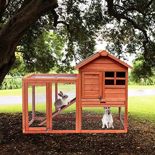 Merax Rabbit Bunny Hutch House with Black Linoleum Roof (Natural Wood)