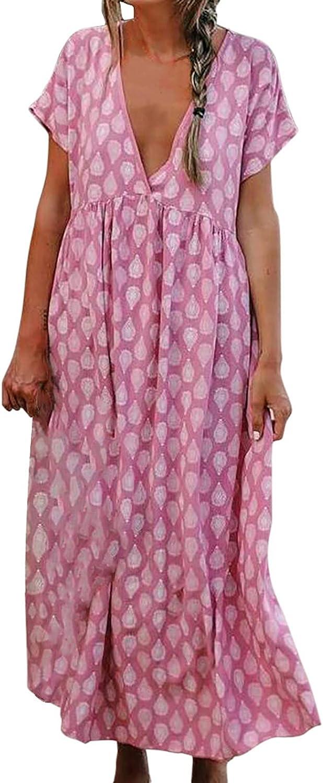 SHILONG Women's Casual Short Sleeve Floral Print Dress Summer Beach V-Neck Loose Long Dress