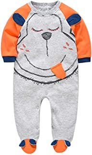 HROUEN Baby Boy Footed Bodysuit Cotton Thick Warm Cartoon Onesies Jumpsuits Toddles Outfit, Grey