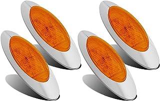 Partsam 4Pcs 6-5/8 Inch Oval Led Side Marker Lights Amber 16LED Surface Mount w Bullet Plugs Waterproof Replacement for Peterbilt/Kenworth/Freightliner Trucks Led Cab Sleeper Panel Lights Sealed