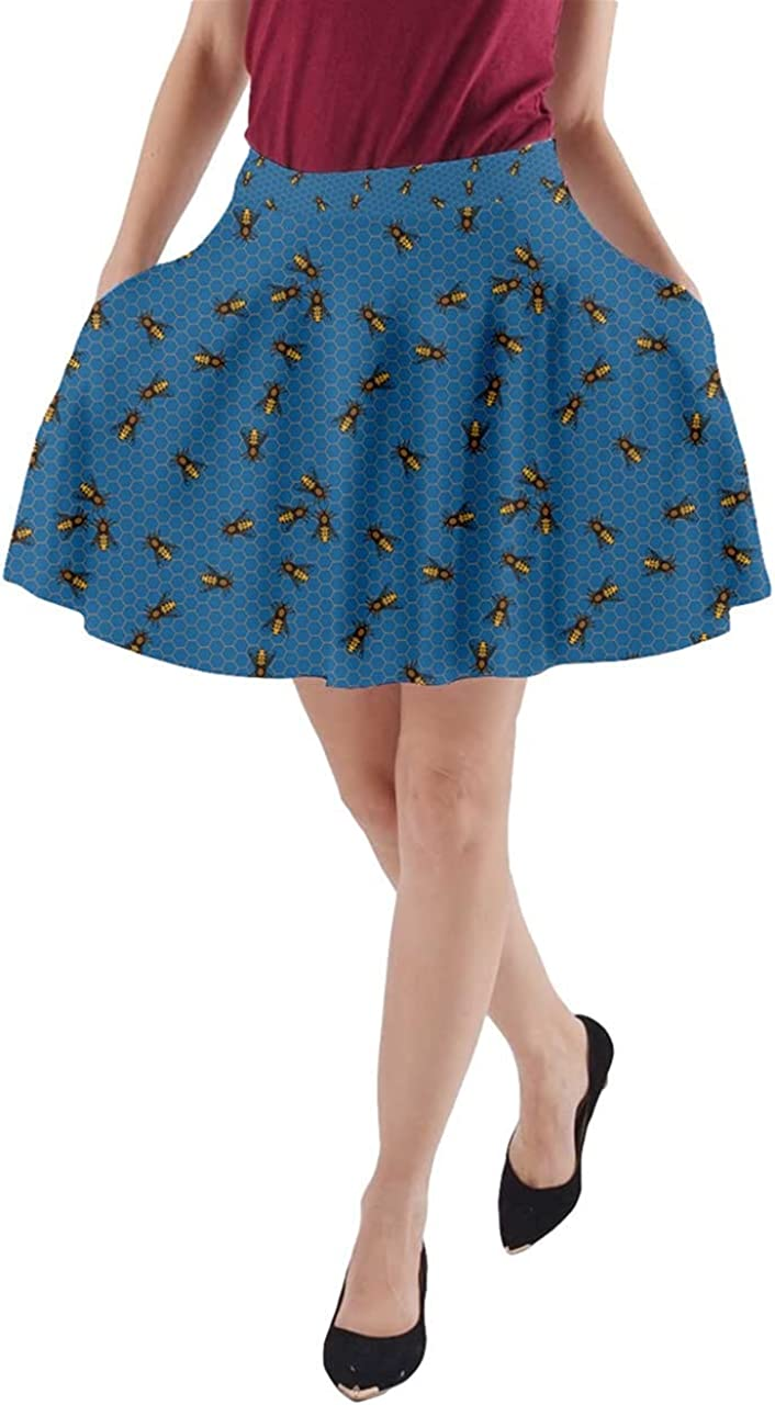 CowCow Womens A-line Pocket Skirt The Bee On Honeycombs Swing Skater Skirt