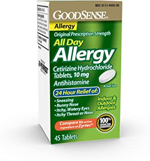 Goodsense All Day Allergy, Cetirizine Hcl Tablets 10 Mg, Antihistamine for Allergy Relief, 45 Count
