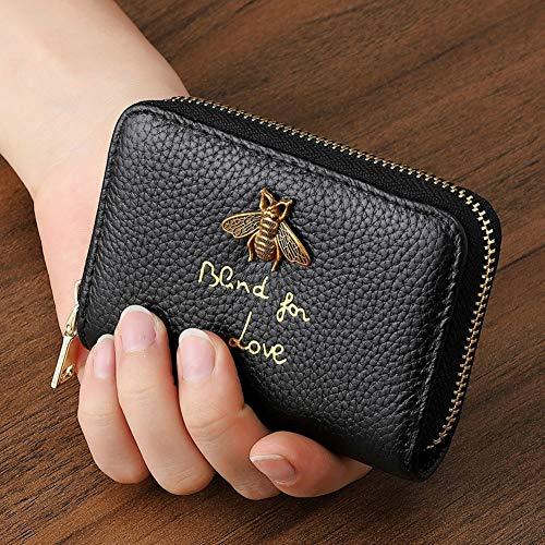 カードケース 大容量 カード入れ 革 レザー 磁気防止 じゃばら ミニ財布 メンズ レディース (黒)