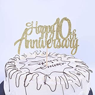 YUINYO 10th Anniversary Party Decoration Gold Glitter 10th Happy Anniversary Cake Topper - Forever 10 Party Favors 01th An...