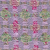Tweed-Stoff, Lila/Grün gestreift