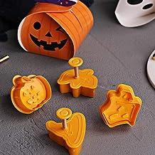 N/R 4pcs Herramientas de Postre de Cocina de Madera de Halloween Herramientas para Hornear, Naranja