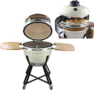21inch Charcoal Ceramic Pizza Oven, Outdoor Wood Fire Smokeless Barbecue Pizza Oven, Stainless Steel Smoker BBQ