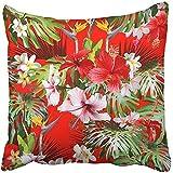 Fundas de almohada cuadradas y divertidas con diseño tropical hawaiano y floral en color rojo con flores de hibisco y plumeria para colgar, fundas de almohada para Navidad, boda, aniversario, regalos románticos