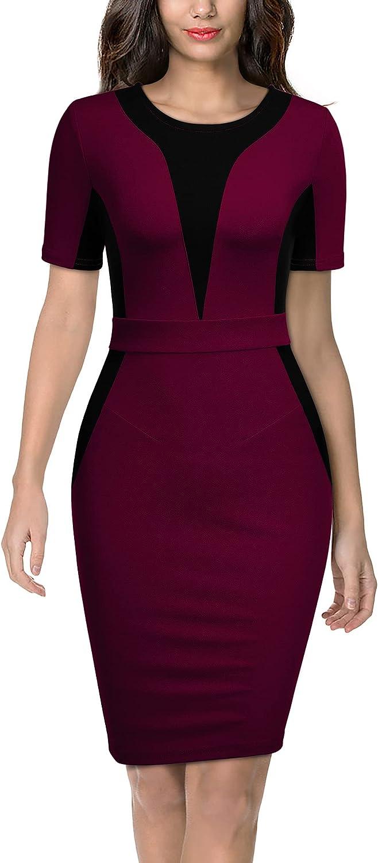 Miusol Women's Work Style Color Contrast Business Pencil Dress