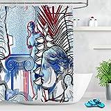 123456789 Venus Statue Tropische Blätter Exotische Duschvorhang Liner Badezimmer Matte Wasserdicht