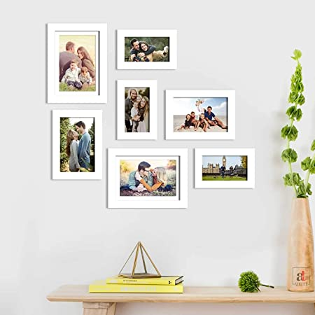 Art Street White Photo Frame Set of 7 with Free Hanging Accessories for Home Decor (White, 4x6, 5x7, 6x8 Inches)