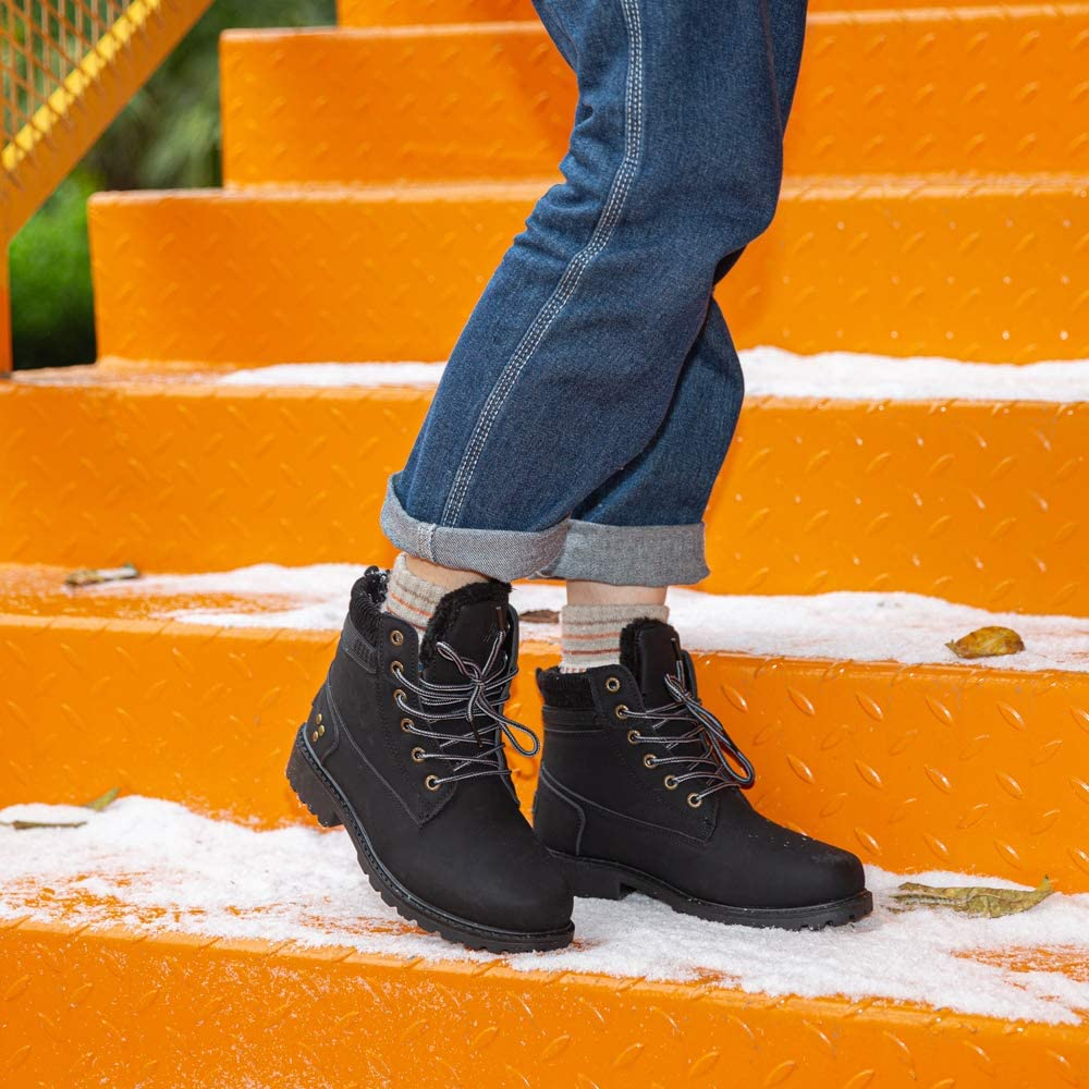 Ladies Winter Boots Fur Lined Ankle Snow Boots Women Lace Up Warm Shoes Anti-Slip Grip Sole Walking Footwear High-top Black Brown Grey Pink Size 3.5-9 UK