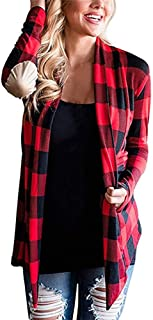 Women's Plaid Print Open Front Cardigan Long Sleeve Elbow Patch Casual Tartan Blouses