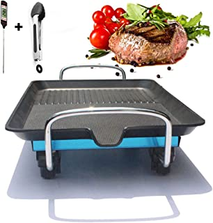 Electric Grills Smokeless Teppan Grill BBQ Table Grill, Japanese Grill, Table Grill, Grease Tray, Grill Plate (Table Grill with Honeycomb Strip Grill Zone, Non-Stick Coating)