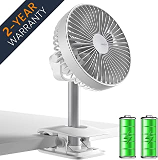 Baby Stroller Clip on Desk Fan, 4000 mAh Battery Operated Table Fan with 4 Speeds, Rechargeable USB Fan with Max 15 Hrs, Adjustable Angle, Quietest, Powerful Personal Fan for Office, Home, Outdoor