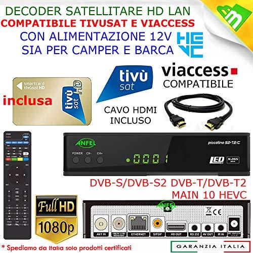 Ricevitore Decoder Tivusat HD 1080p compatibile con Tessera Gold Nuova Inclusa Da Attivare con Cavo...