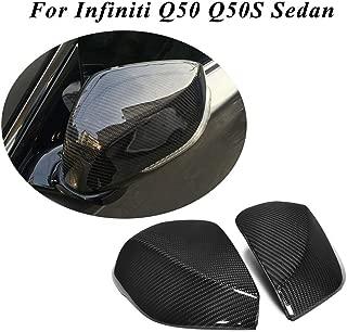 JC SPORTLINE Q50 Replacement Mirror Cover,fits Infiniti Q50 Q50S Sedan 2013-2019 1:1 Carbon Fiber Replace Mirror Cap CF Rear View
