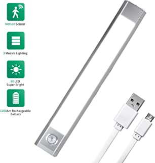 Motion Sensor LED Closet Light - Wireless Under Cabinet Lighting with USB Rechargeable 1200mAh Battery Operated, 60 LED Counter Lighting Motion Activated Light 3 Mode Warm White, Cold White and White