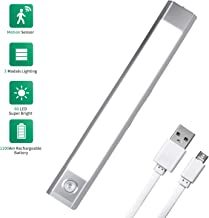 Motion Sensor LED Closet Light, Wireless Under Cabinet Lighting with USB Rechargeable 1200mAh Battery Operated, 60 LED Counter Lighting Motion Activated Light (Closet Light)