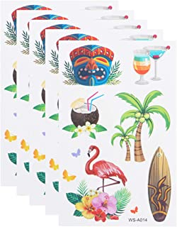 Amosfun 10 fogli di tatuaggi temporanei hawaiani adesivi estivi spiaggia tatuaggi adesivi per feste hawaiane