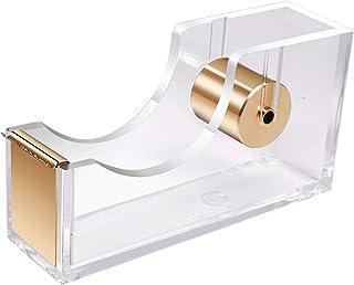 UNIQOOO 5mm Super Thick Clear Acrylic Gold Desk Tape Dispenser Holder, Modern Office Design Accessories