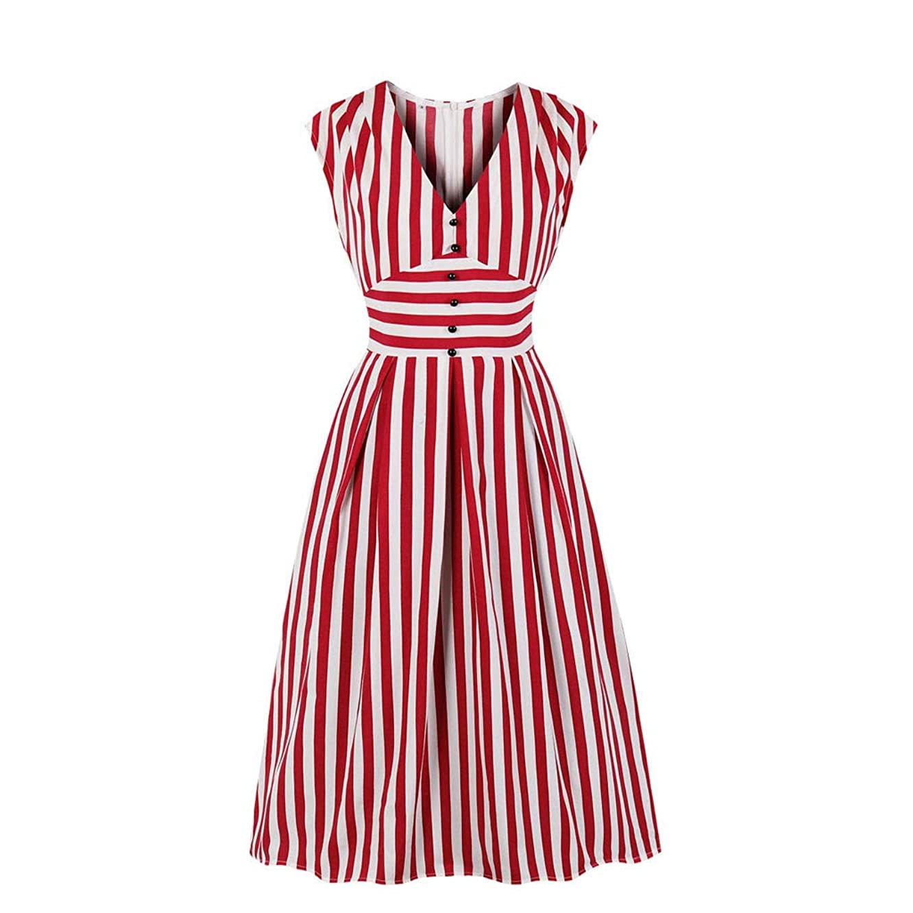 Women Casual Striped Printed Sleeveless V-Neck Botton Vintage Retro Ball Gown Dress (Red, S)