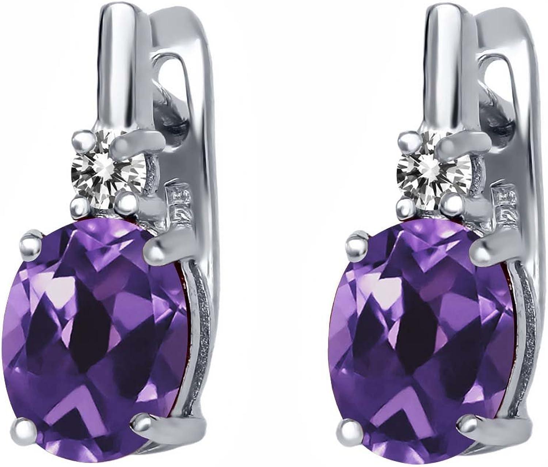 3.45 Ct Oval Purple Amethyst White Diamond 925 Sterling Silver Earrings