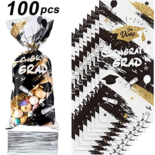 100 Stücke Abschluss Plastik Treat Taschen, Congrats Absolventen Klar Zellophan Taschen Goodie Geschenk Gefallen Süßigkeiten Verpackung Taschen mit 100 Silber Twist Krawatten (Schwarz Gold)