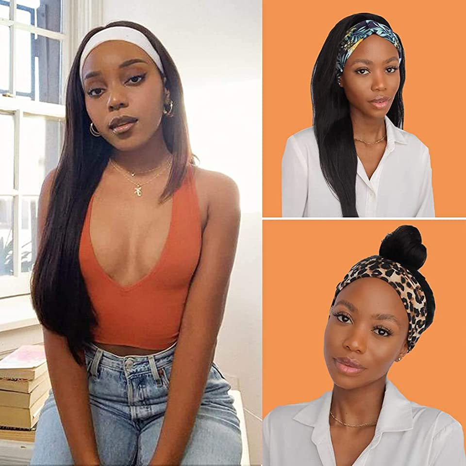 Beuxitun Straight Headband Human Hair Wig Glueless None Lace Front Wigs for Black Women Half Wig Beginners With Headband Attached 150% Density, 4 Pcs Fashion Headbands in A Gift Box