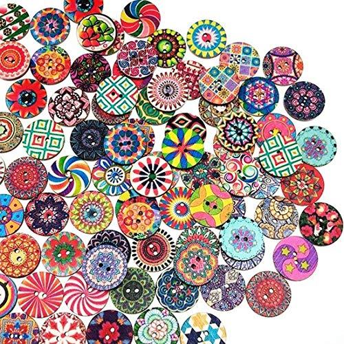 YEFAF Bunte Holzknöpf, 200 Stück Bunte Knöpfe Kinder Knöpfe Bunt Gemischt Muster Vintage Holzknöpfe für Nähen, Basteln, Dekoration, DIY(Durchmesser 15mm&25mm)