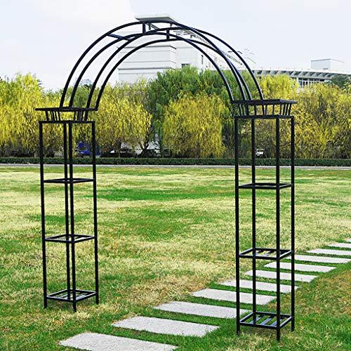 Garden Arch with Flower Pot Stand, 222cmx34cmx245cm, Garden Growth Support, Outdoor Rose Arch (Black)