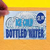 Decal Sticker Ice Cold Bottled Water Restaurant Cafe Bar Style T Store Sign 8'