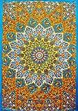 Tapiz bohemio de pared hecho a mano con un diseño de mandala de estilo indio de la luna y del sol hecho a mano para colgar de la pared