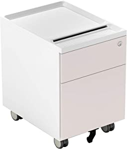 CUBESPACE 2 Drawer File Cabinet, Metal Vertical Filing Cabinet with Lock and Casters, Mobile File Cabinets for Home Office, Fully Assembled (Latte Brown)