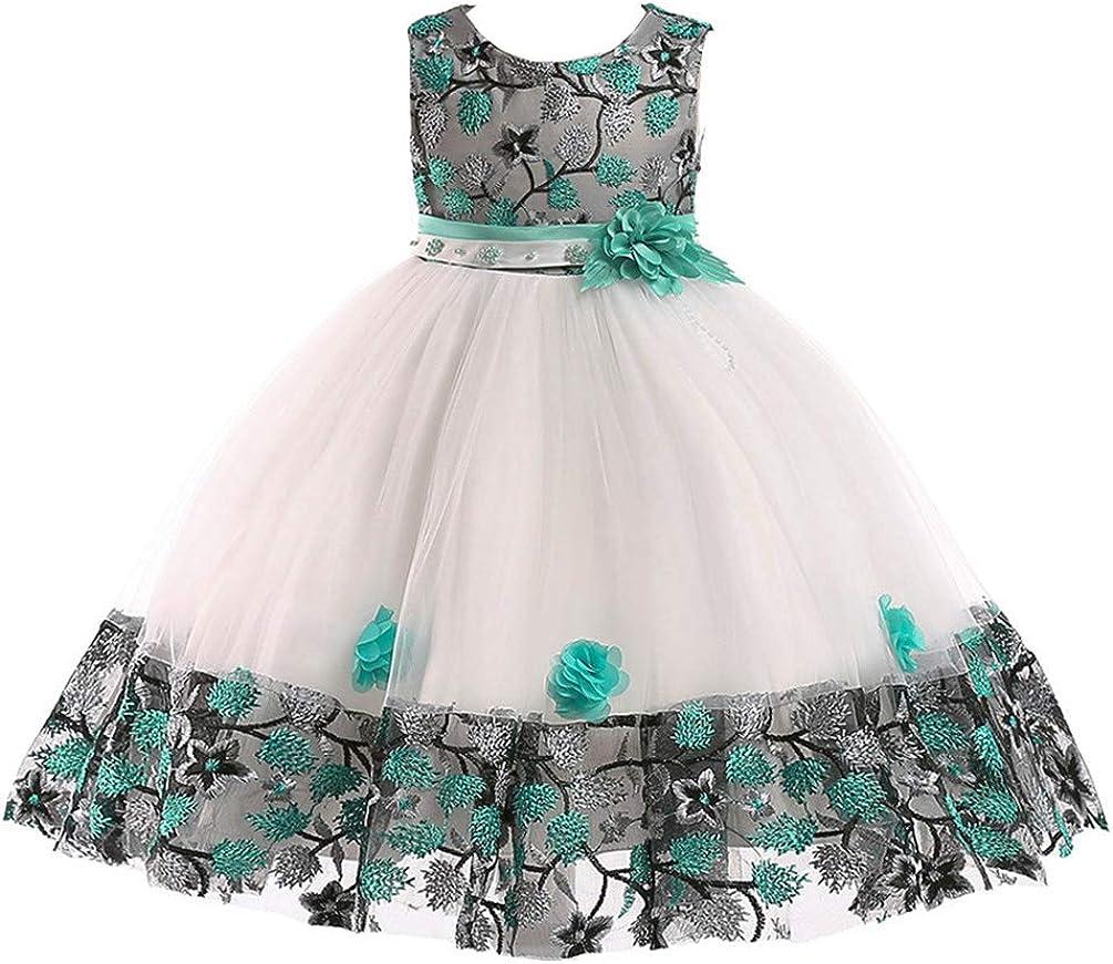 JIANLANPTT Little Girls Summer Appliques Floral Wedding Princess Prom Gown Children Ceremony Dresses 3-4Years White Green
