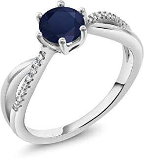 Gem Stone King 925 Sterling Silver Blue Sapphire Infinity Ring 1.19 Ct Round, Gemstone Birthstone (Available 5,6,7,8,9)
