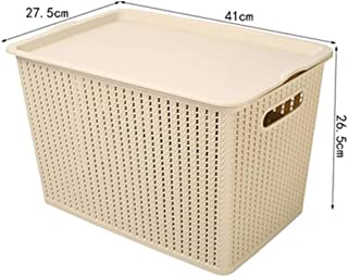 PPCP Storage Box Rattan Plastic Desktop Storage Box Clothing Toy Storage Box (Color : Beige)