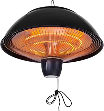 Star Patio Electric Patio Heater, Outdoor Ceiling Patio Heater, Black with Infrared Heating Element, Pendant Patio Heater Suitable as a Balcony Heater, Verandah Heater, BBQ Party Heater, 1538
