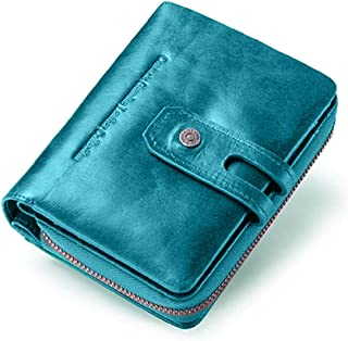 CONTACTS Genuine Leather Women Wallets, Multi-Function Slim Bifold Zipper Clutch Purse with RFID - TEALBLUE…