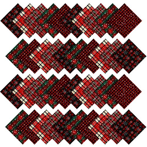 40 Pieces Christmas Cotton Precut Fabric Squares Quilting Fabric Plaid Snowflake Fabric Squares for DIY Sewing Quilting Patchwork Craft (5 Inch)
