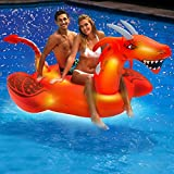 Aqua LEISURE Oversized 8 Foot, LED Inflatable Dragon Pool Floatie, 4 Mode 16-Color LED Light-Up, Ride On Pool Float, Fun Party Float, Orange (AZR14943)