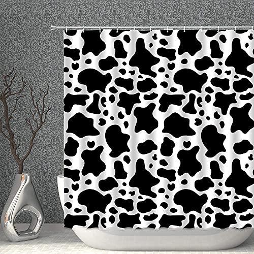 Cortina de Ducha Cortina de ducha de animales de granja Classic Negro Blanco Leche Leche Manchas de vaca Casa de campo Cortinas de cuarto de baño, poliéster impermeable con ganchos 70x70 pulgadas