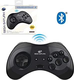 Retro-Bit Official Sega Saturn Bluetooth Controller 8-Button Arcade Pad for Switch, Android, PC, Mac, Steam - Black