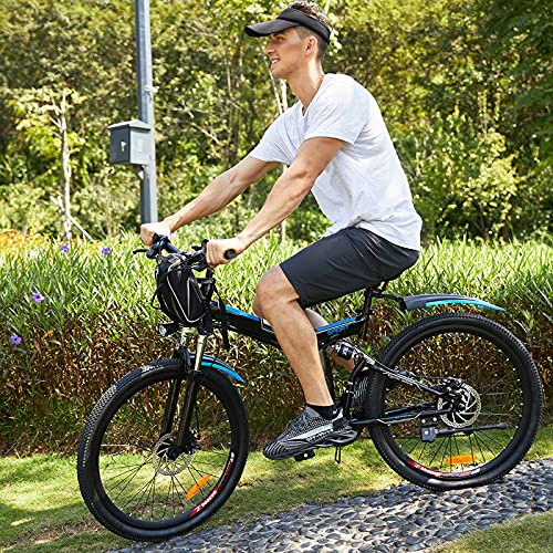 Electric Bikes Electric Mountain Bike for Adult, 26 Inch Folding E-bike Citybike with 250 W Motor 36V 8AH Removable Lithium Battery 21 speed Gear Double Disc Brakes (Black)