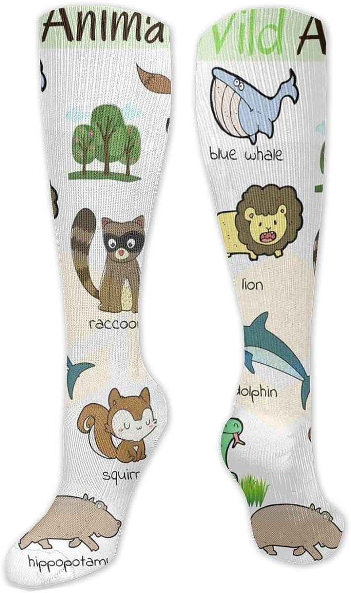 Cute Wild Animals Pattern Knee High Socks Leg Warmer Dresses Long Boot Stockings For Womens Cosplay Daily Wear