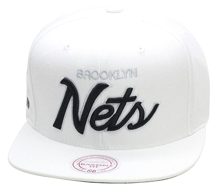 Mitchell & Ness Brooklyn Nets Snapback Hat All White / Black Script
