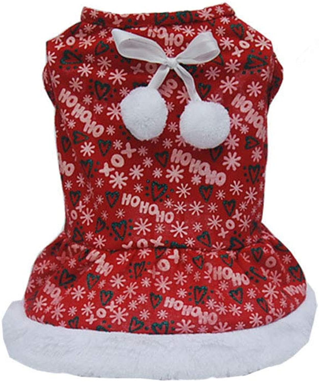 Christmas Pet Dog Winter Warm Red Letters Printed Puppy Dog Dress Skirt Puppy Clothes Bowknot Cute Wedding Party Dress