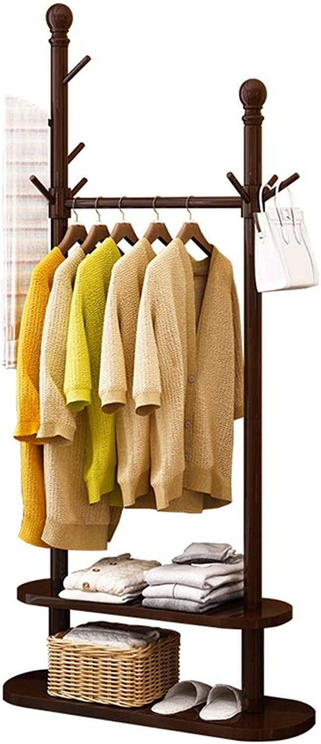 JIAYING Coat Rack, Wood Garment Rack, Clothes Hanging Rail with 10 Hooks, for shoes, Hats and Scarves, in The Hallway, Living Room, Guest Room (color   Coffee color)