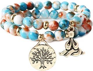 أساور خرز من الأحجار الكريمة الطبيعية شفاء اليوغا للنساء شجرة الحياة شاكرا سوار جاسبر والعقيق التبت